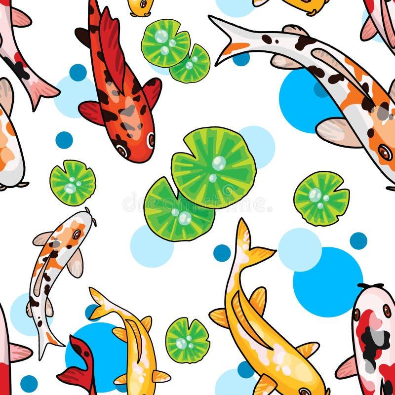 Digital-Illustration des nahtlosen Musters mit cartoony Karpfen und Lotos verlässt ander Wasser Draufsicht lizenzfreie abbildung