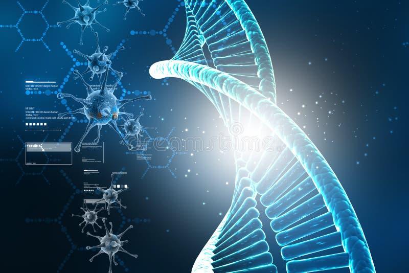 Digital illustration of Dna structure with virus vector illustration