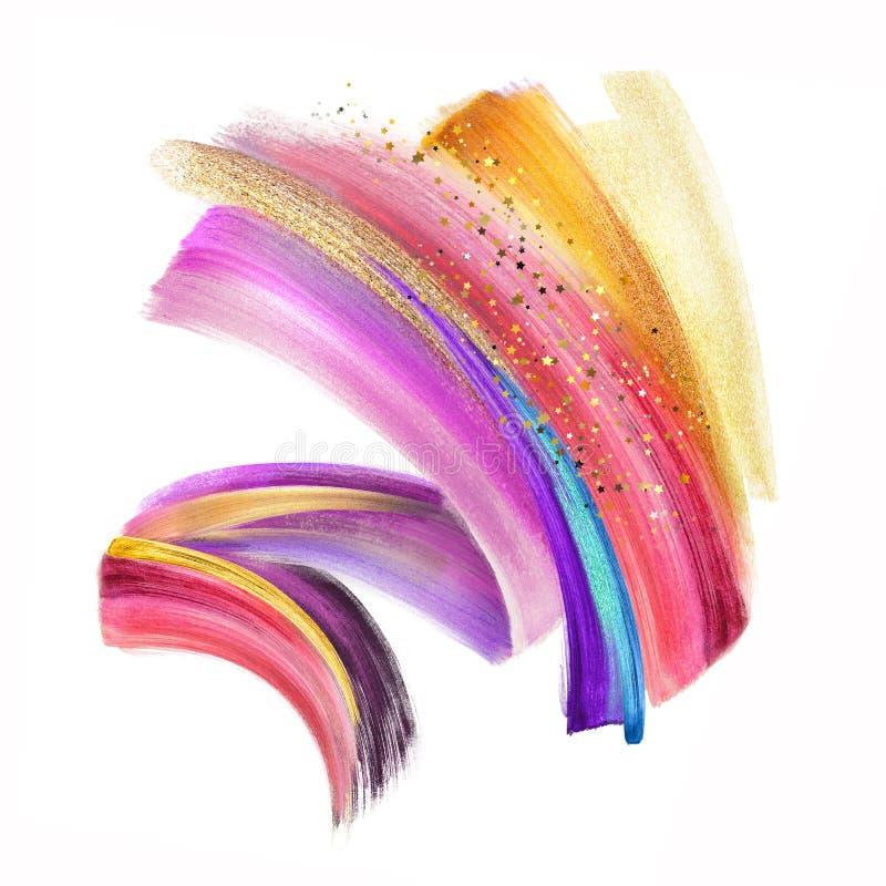Digital illustration, färgrik konst för gem för neonborsteslaglängd som isoleras på vit bakgrund, dynamiskt vattenfärgsudd  vektor illustrationer