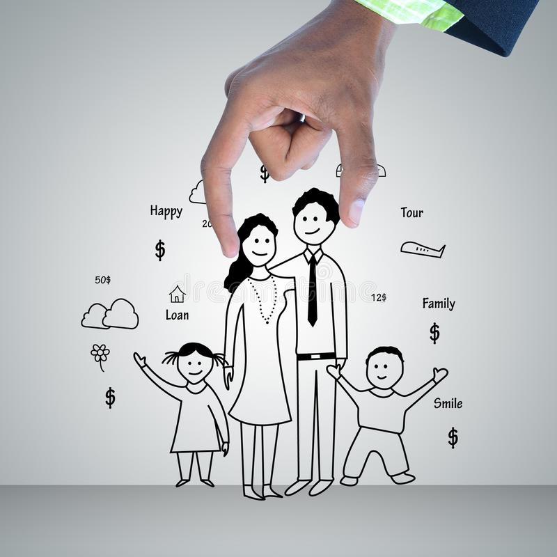 Digital illustration of family planning concept stock photo