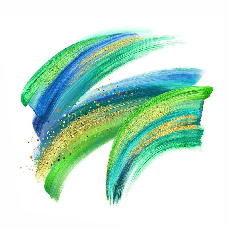 Digital illustration, green blue gold paint, neon brush stroke isolated on white background, paint smear, colorful clip art. Artistic design element stock illustration