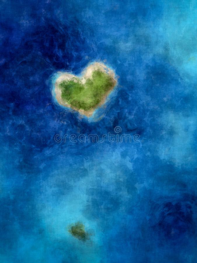 a heart shaped island in the deep blue sea royalty free illustration