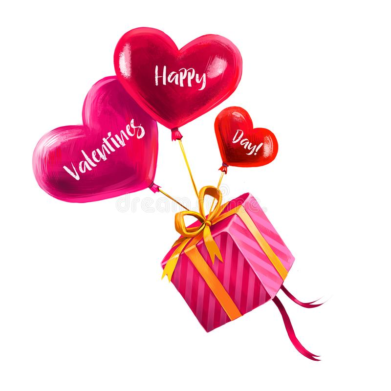 Digital illustration of holiday gift flying on heart shaped balloons. Present in pink wrapping paper and golden ribbon. Happy stock illustration