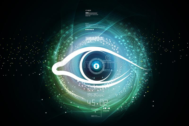 Digital illustration of Human eye. In attractive color background royalty free illustration