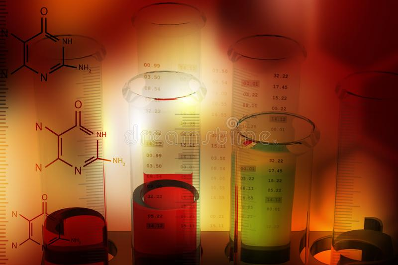 Digital illustration of Laboratory equipments with molecules. In color background royalty free stock images