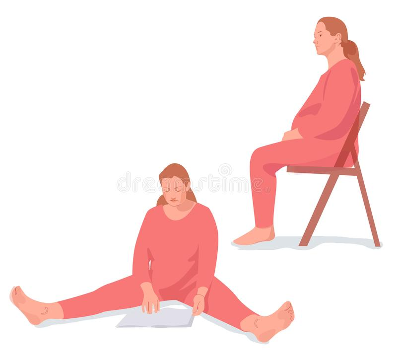 Digital, illustration, ligne, femme enceinte illustration libre de droits