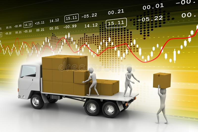 Loading and delivery of goods. Digital illustration of Loading and delivery of goods in color background royalty free illustration