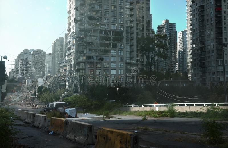 Post Apocalyptic Street And Buildings royalty free stock photos
