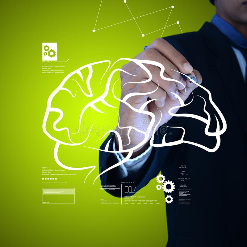 Digital illustration of Man drawing human brain. In color background stock photo