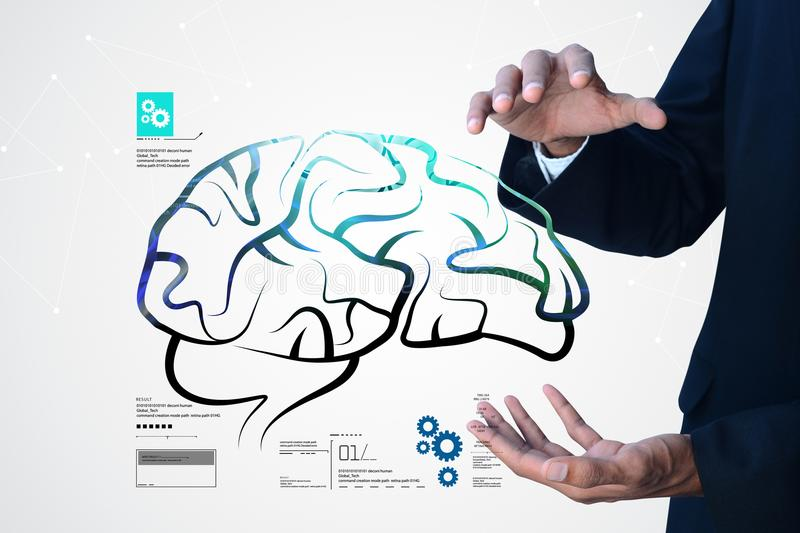 Digital illustration of Man showing human brain structure. In background royalty free stock photography