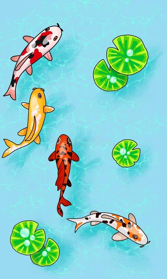Digital-Illustration mit cartoony Karpfen und Lotos verlässt ander Wasser Draufsicht lizenzfreie abbildung