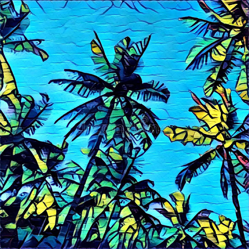 Digital illustration - The palm trees on blue background, graffiti style drawing of tropical summer. With green and yellow coco palm silhouette and turquoise royalty free illustration