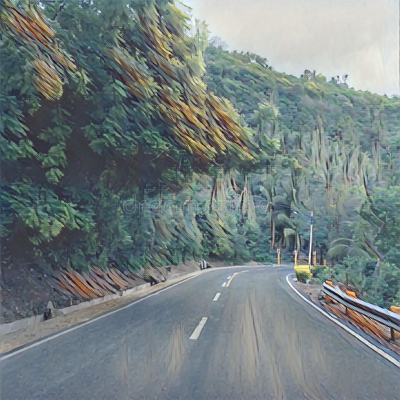 Digital Illustration Of The Road In Mountains, Summer Holiday Travel In Philippines,. Cebu Island Roadside Landscape With Tropical Forest, Cliff, Trees. Drawing royalty free illustration