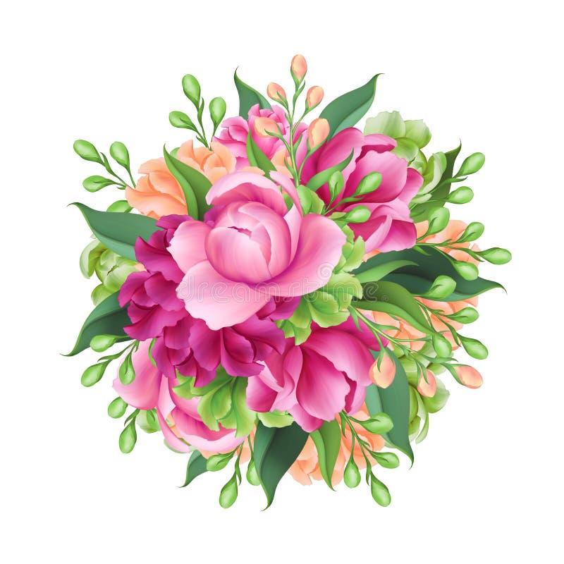 Digital illustration, rund brud- grupp av blommor som isoleras på vit bakgrund royaltyfri foto