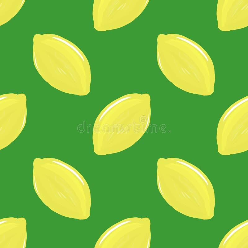 Digital illustration  yellow lemon pattern on green background stock illustration