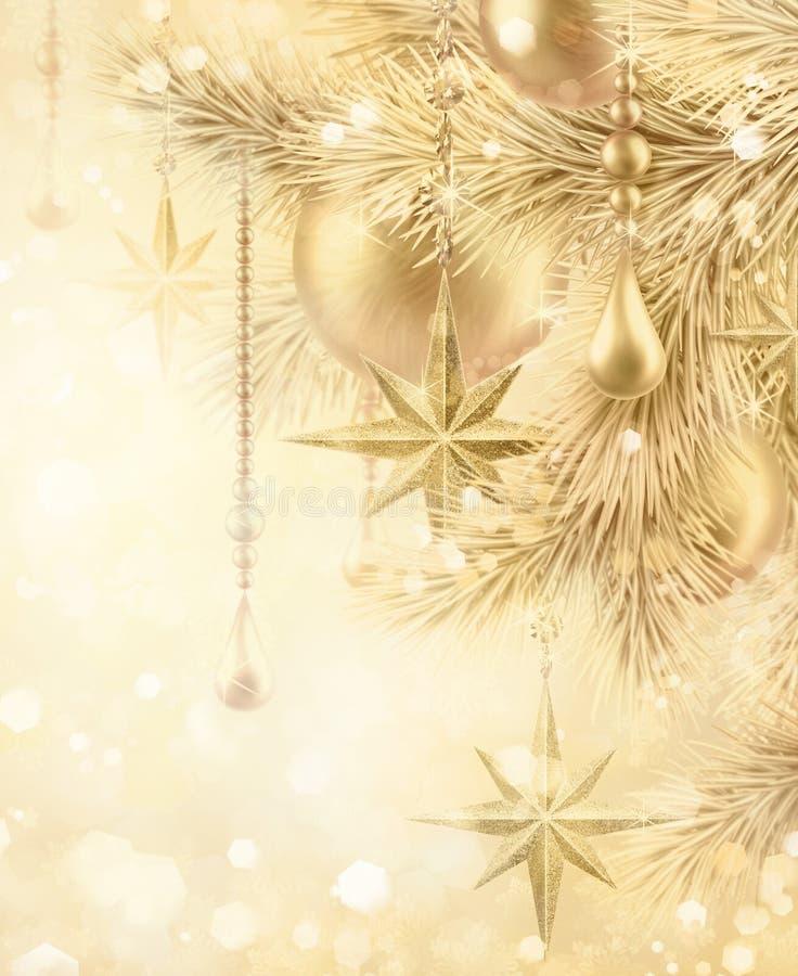Free Digital Illustration, Sparkling Golden Festive Background, Bokeh Lights, Vintage Christmas Tree Ornaments, Gold Balls, Stars, Win Royalty Free Stock Photos - 105050378