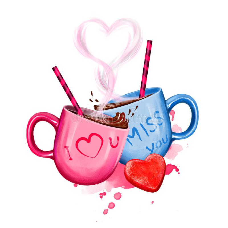 Digital illustration of two cups with hot cocoa drink. Cup design for couple: pink for her and blue for him. Heart of steam and. Funny drink tubes. Happy royalty free stock photo
