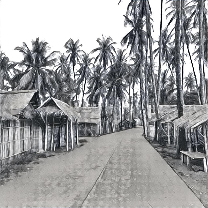 Download digital illustration the village in jungle traditional filipino village pencil sketch stock illustration