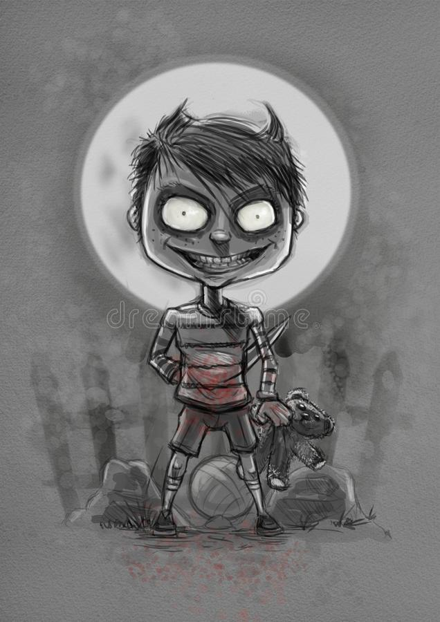 Scary child. Digital illustration with a watercolor feel of a scary child under the moon with crazy look on his face, blood splatterc on his clothes and a knife stock illustration