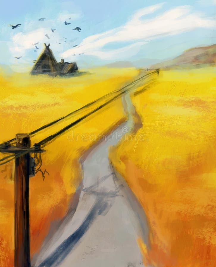 Digital-Illustration: Wegbetrieb durch das Roggenfeld Strompfosten und -drähte, die über das Feld ausdehnen stockfoto