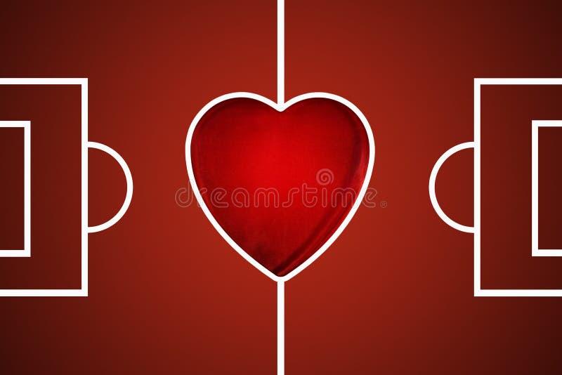 Digital illustrerad röd fotbollgrad vektor illustrationer