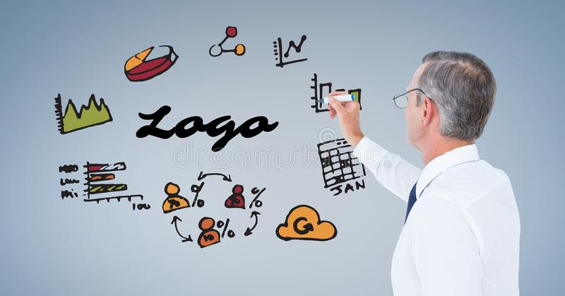 Digital image of businessman with logo text drawing graphs and symbols on blue background royalty free illustration