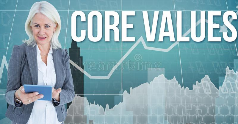 Digital image of businesswoman standing by growth values text against arrow royalty free illustration