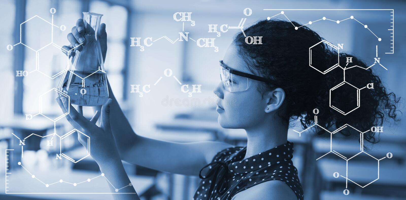 Composite image of digital image of chemical formulas royalty free illustration
