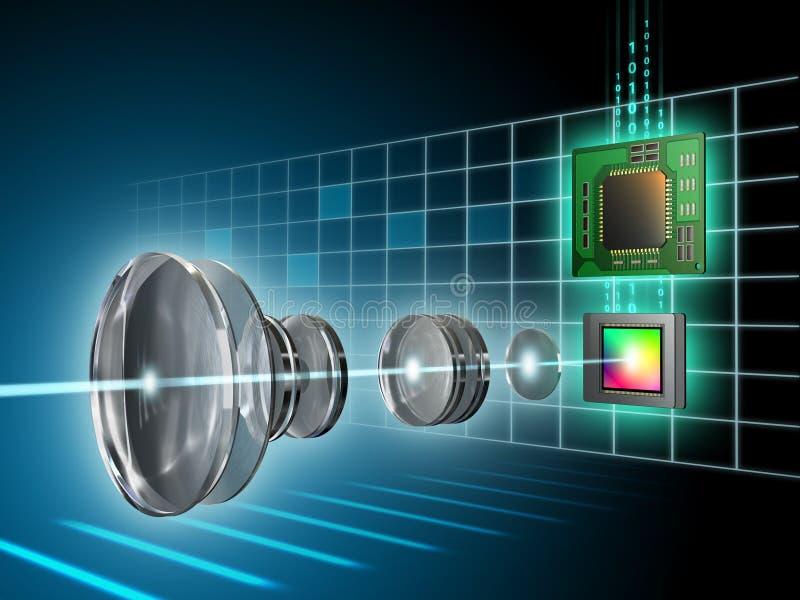Digital imaging. Modern digital imaging sensor, lens and image processor. Digital illustration stock illustration