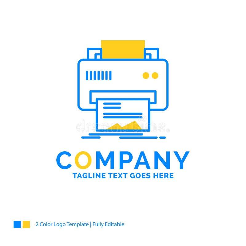 Digital, imprimante, impression, matériel, affaires jaunes bleues de papier illustration de vecteur