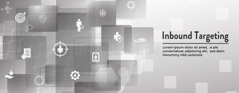 Digital Inbound Marketing & Targeting Web Banner with Vector Icon Set royalty free illustration