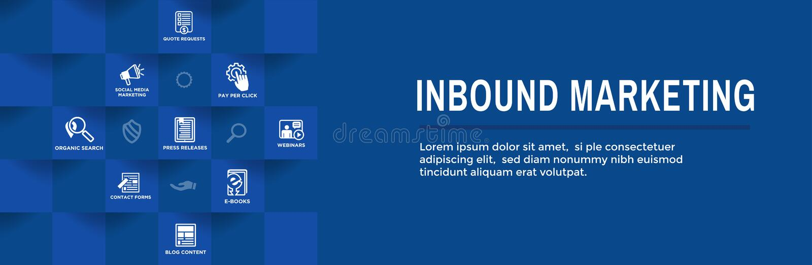 Digital Inbound Marketing Web Banner with Vector Icons with CTA, Growth, SEO, etc stock illustration