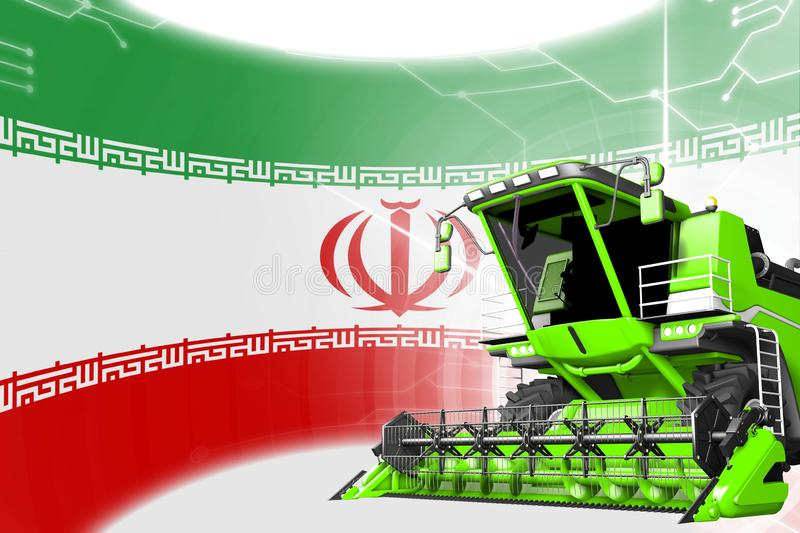 Digital industrial 3D illustration of green advanced rye combine harvester on Iran flag - agriculture equipment innovation concept. Agriculture innovation vector illustration