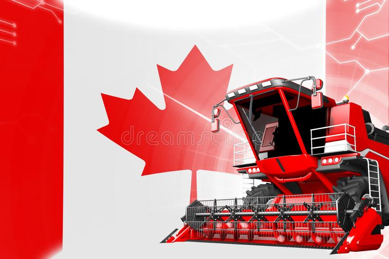 Digital industrial 3D illustration of red advanced rye combine harvester on Canada flag - agriculture equipment innovation concept. Agriculture innovation stock illustration