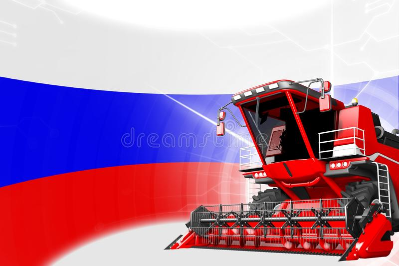 Digital industrial 3D illustration of red advanced wheat combine harvester on Russia flag - agriculture equipment innovation. Agriculture innovation concept, red royalty free illustration