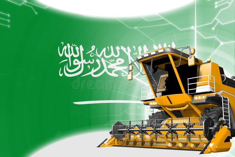 Agriculture innovation concept, yellow advanced wheat combine harvester on Saudi Arabia flag - digital industrial 3D illustration. Digital industrial 3D vector illustration