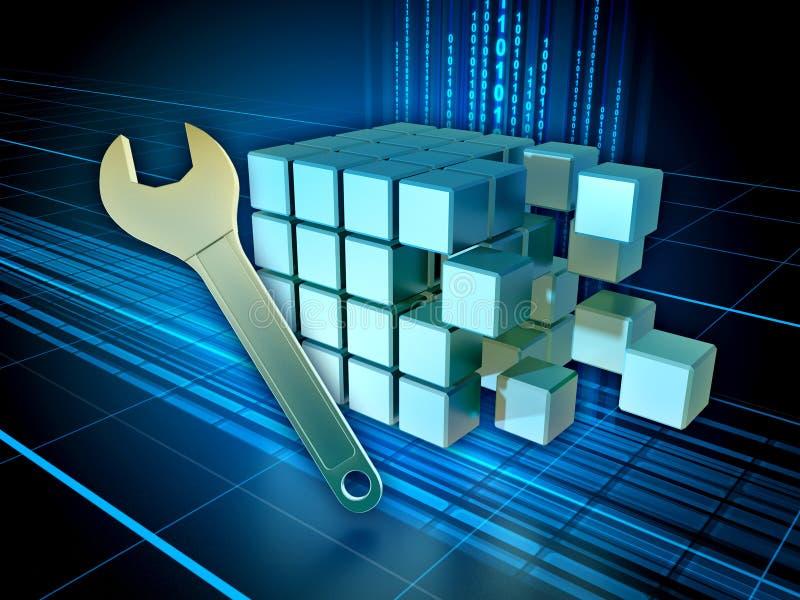 Digital information maintenance. Fixing registry or database. 3D illustration vector illustration