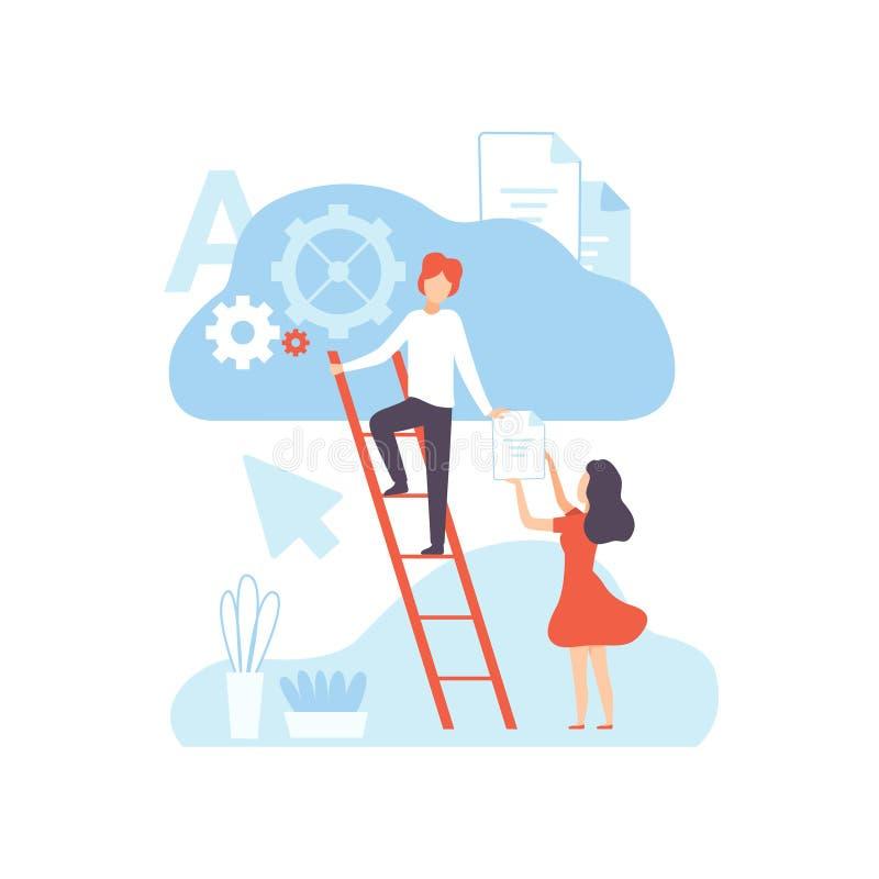 Digital-Inhalts-Schaffung, Technologie-Prozess von Artikeln und ladende Medien-Materialien, Social Media-Marketing-Vektor lizenzfreie abbildung