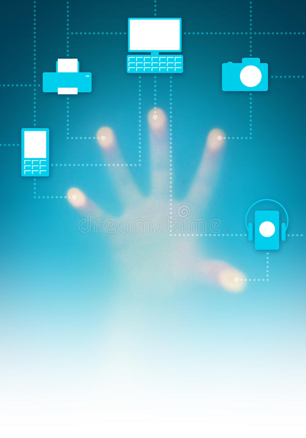Digital Interface. Touch-screen digital interface with icons of connected electronic devices vector illustration