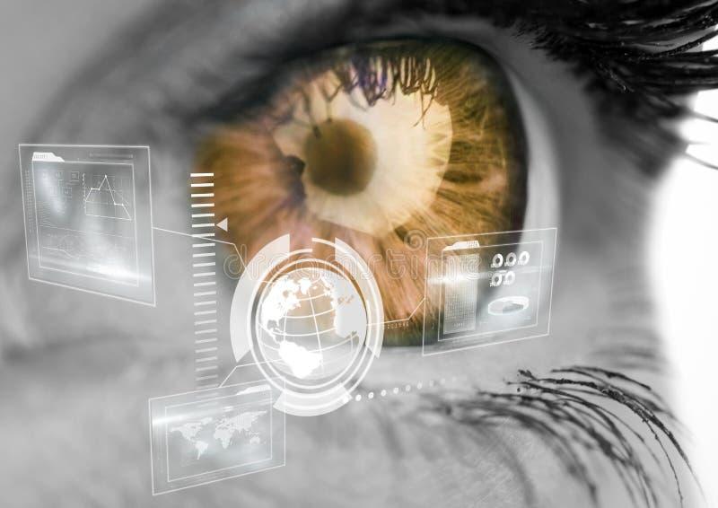 Digital interface against human eye in background. Digital composition of digital interface against human eye in background royalty free stock images