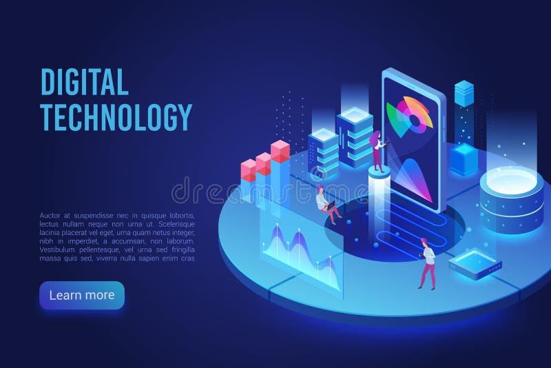 Digital and Internet technology dark neon light landing page isometric vector template stock illustration