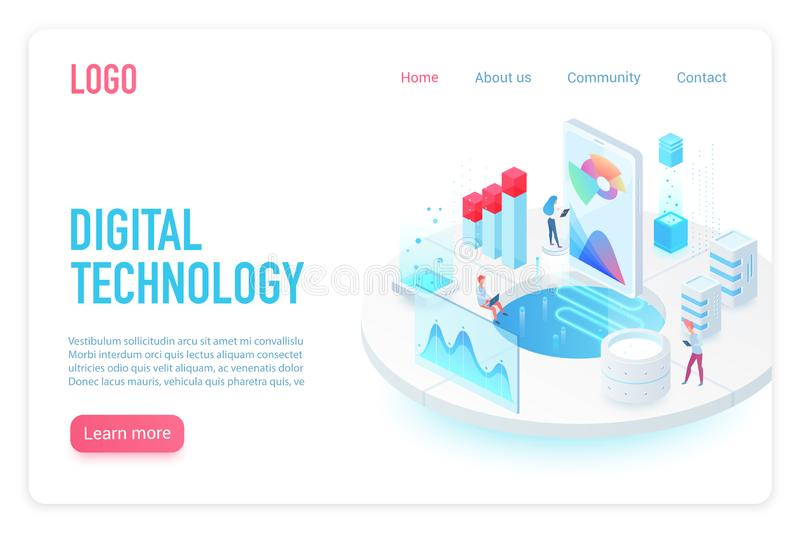 Digital and Internet technology landing page isometric vector template. App interface and web development 3d web banner vector illustration