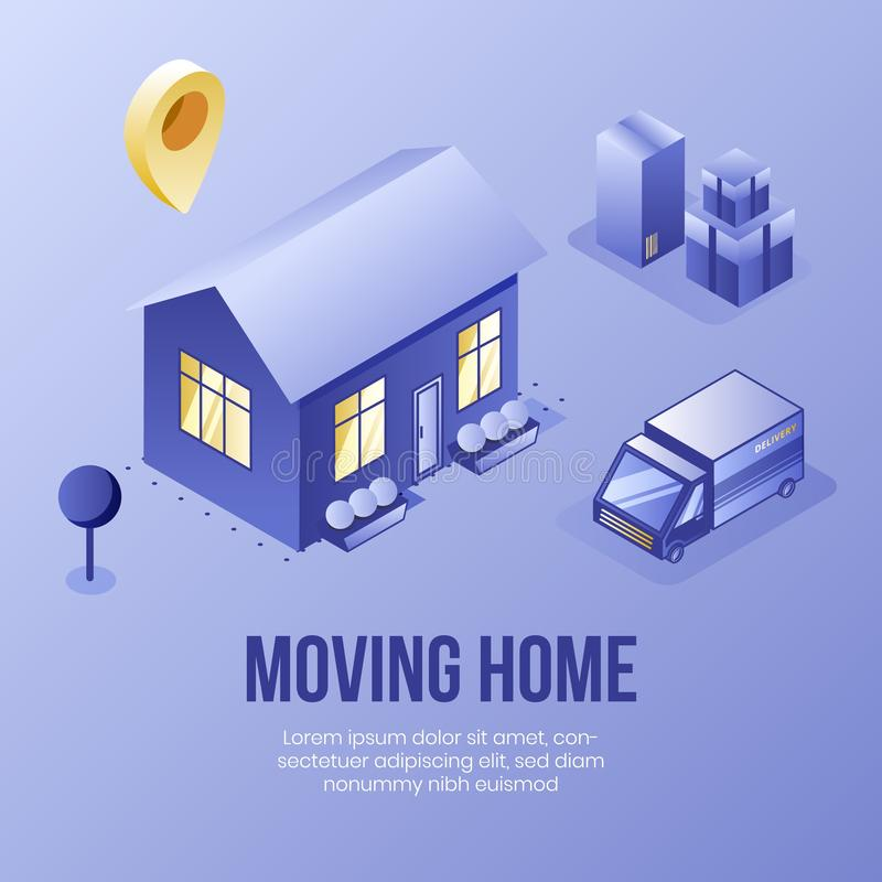 Digital isometric design concept scene of moving home helping app 3d icons.Isometric social business illustration-house vector illustration