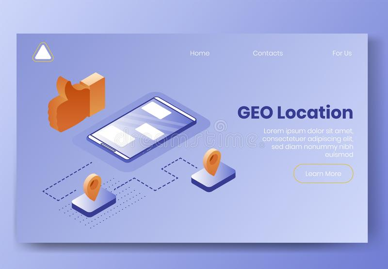 Digital isometric design concept set of GEO location app 3d icons.Isometricsocial marketing symbols-mobile phone,geo stock illustration