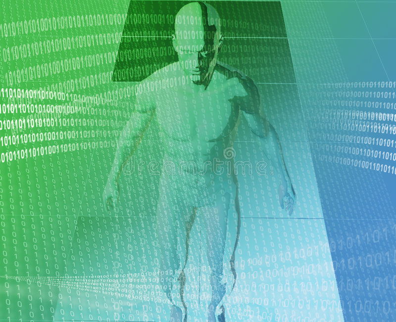 Digital journey. A man surrounded by information green blue background stock illustration