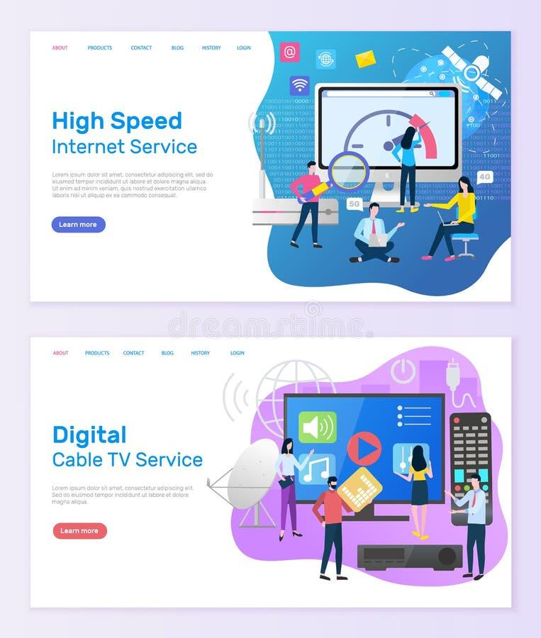 Digital-Kabelfernsehen-Service-hohe Geschwindigkeit des Internets lizenzfreie abbildung
