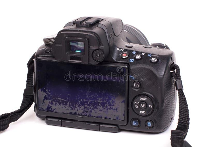 Digital kamera med isolerad bruten skärm royaltyfri foto