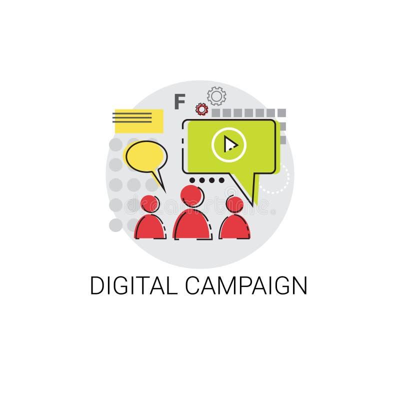 Digital-Kampagnen-Inhalts-Marketing-Ikone lizenzfreie abbildung