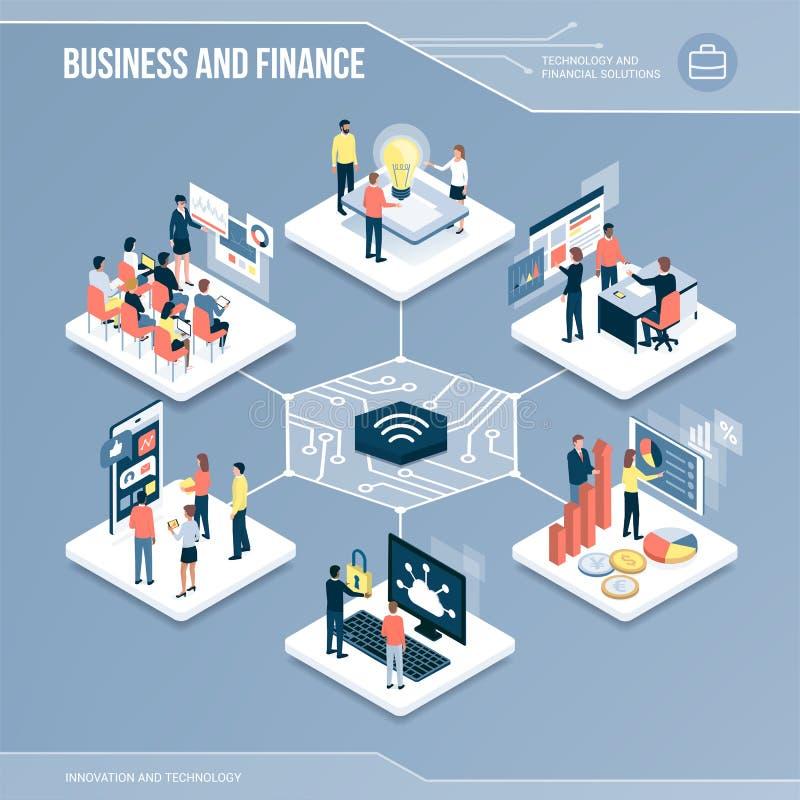 Digital-Kern: Geschäft und Finanzierung stock abbildung