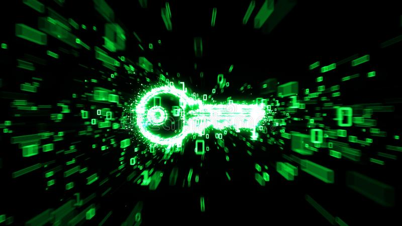 Digital key in cloud of green binary numbers illustrating digital encryption. Green binary digits streaming from a glowing key image with heavy motion blur royalty free stock photography